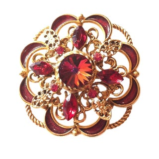 1960s Ruby Red Rivoli And Rhinestone Brooch