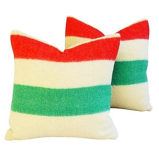 Custom Hudson's Bay Camp Blanket Pillows - A Pair