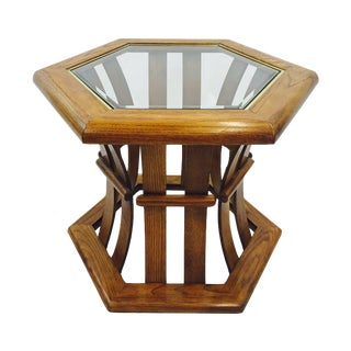 Retro Mid Century Wood & Glass Top Side Table
