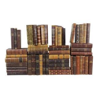 1800s-1960s Leather-Bound Books - Set of 50