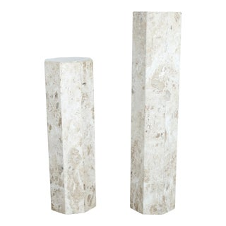 White Travertine Marble Pedestals - A Pair