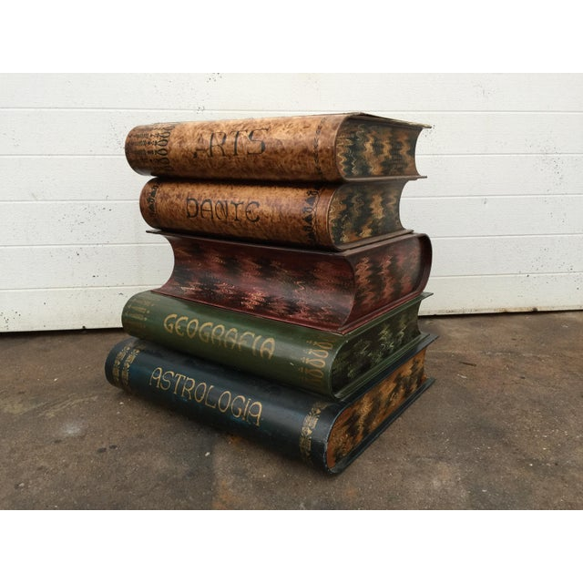 Italian Metal Tole Painted Book Stack Table - Image 2 of 9