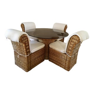 Vintage Woven Rattan Round Dining Set - Set of 5