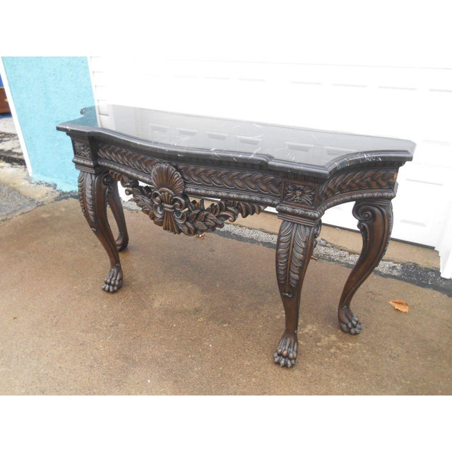 French Rococo Style Carved Wood & Marble Top Console Table - Image 3 of 8