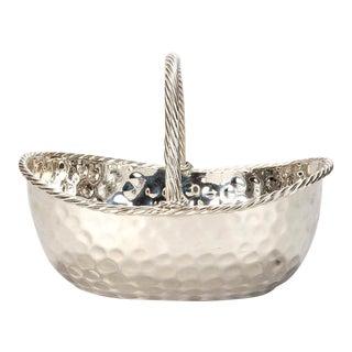 Mid-Century Modern Silver Plate Hammered Basket
