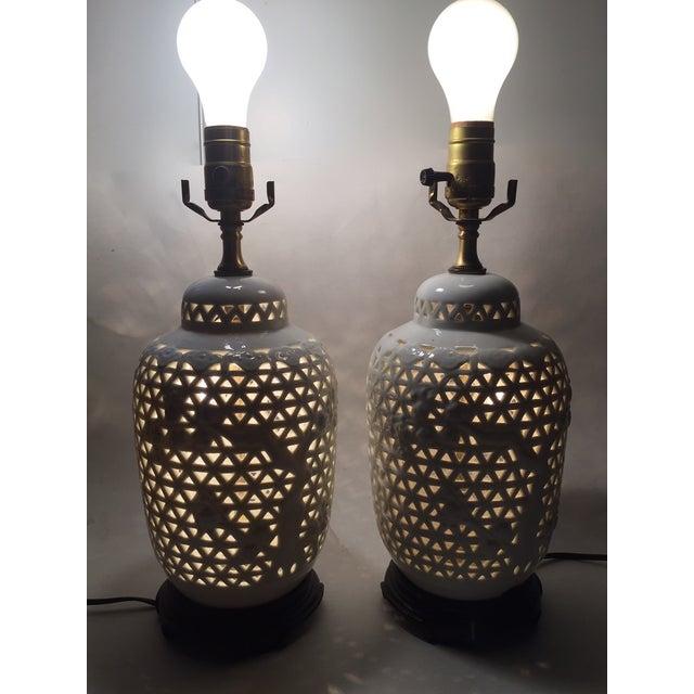 Vintage Pierced Porcelain Ginger Jar Lamps - Image 9 of 10