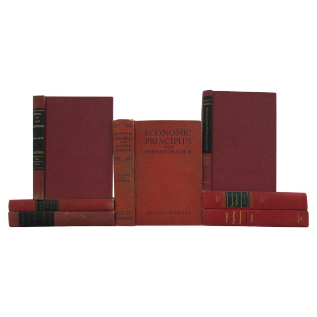 Image of Red & Orange Distressed Textbooks - Set of 7