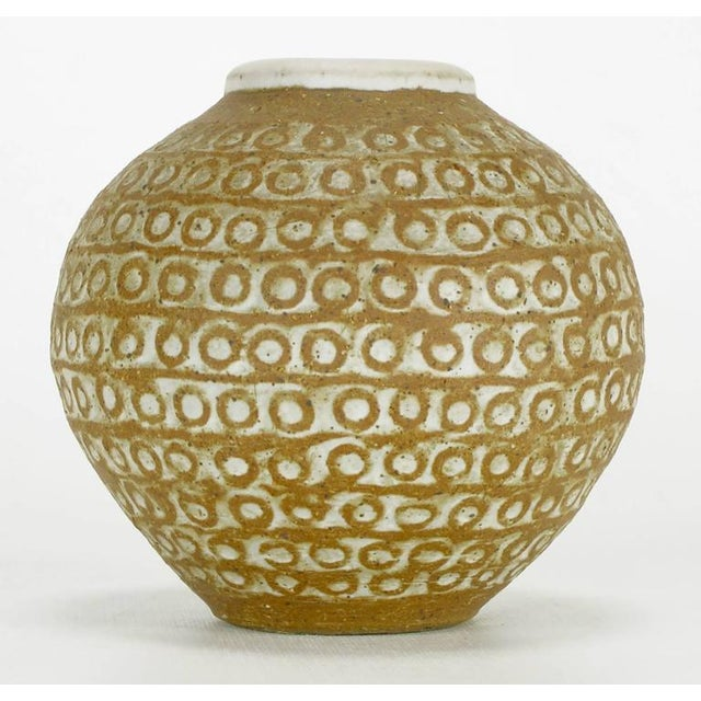 Relief Patterned Earthen Pottery Vase by Tomiya Matsuda - Image 2 of 7