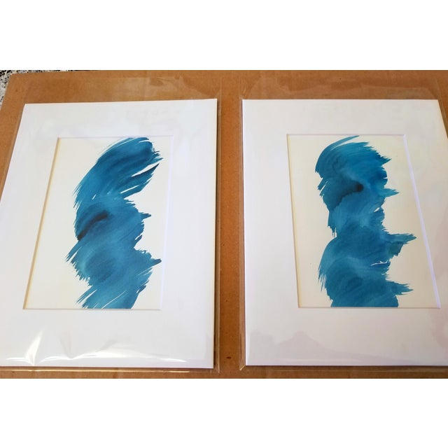 """""""Blue Fever"""" Modern Abstract Watercolor Matted Paintings - a Pair - Image 2 of 4"""