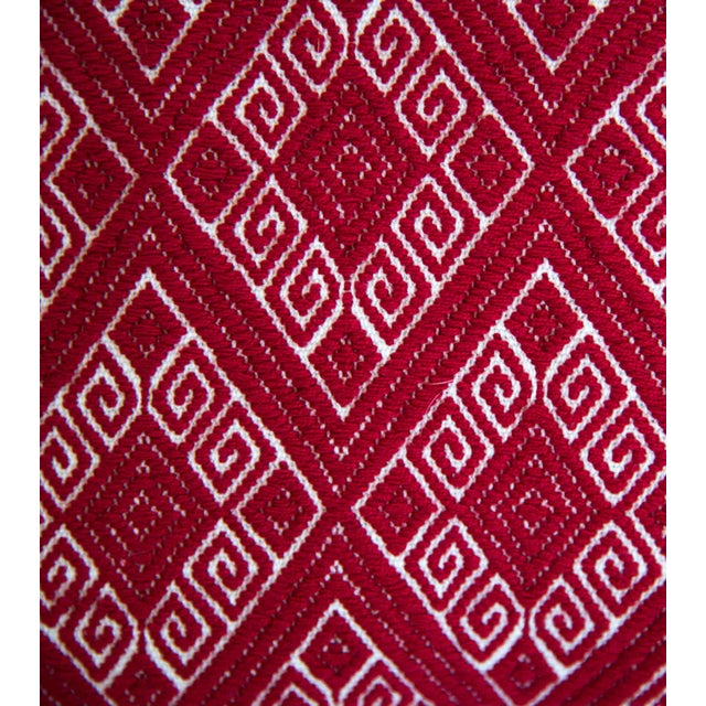 Red Diamond Handwoven Mexican Pillow - Image 2 of 4