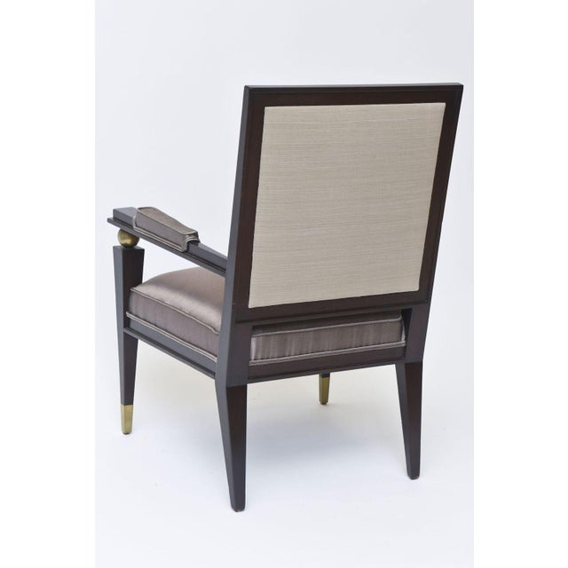Jacques Quinet French Modern Dark Rosewood, Brass and Parcel-Gilt Armchair - Image 6 of 11
