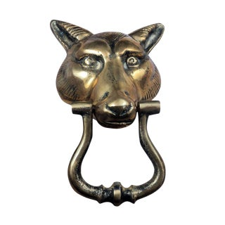 Mid-Century Brass Wolf Head Door Knocker