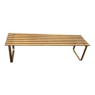 Milo Baughman Brass Slat Bench
