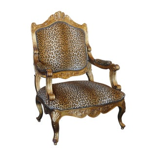 French Louis XV Style Giltwood & Leopard Armchair