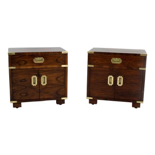 Pair of John Stuart Campaign Style Nightstands