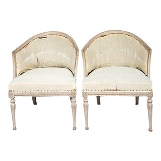 Pair of Gustavian Style Barrel Back Armchairs (#42-25)