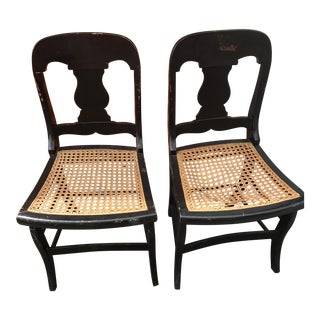 Antique Black Lacquer Side Chairs - A Pair