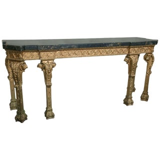 French Black & Tan Marble Top Console