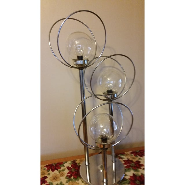 Mid Century 3 Way Chrome Lamp with Clear Bulbs - Image 5 of 6