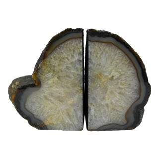 Polished Natural Geode Bookends - a Pair