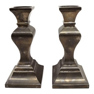 Vintage Brass-Silver Candle Holders - A Pair