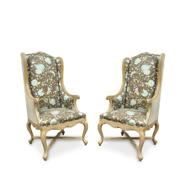 Hollywood Regency French Country Carved Wingback Chairs - A Pair - Image 11 of 11