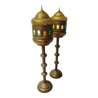 Moroccan Boho Pierced Brass Floor Lamps - A Pair