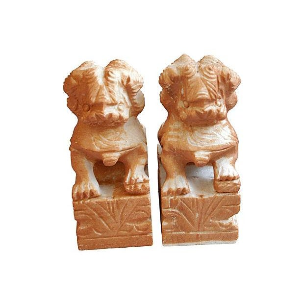 Image of Carved Solid Marble Foo Dog Bookends - Pair