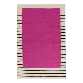 Flatwoven Dhurrie Pink on Black & White Striped Rug - 8′ × 10′