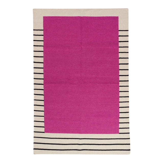 Flatwoven Dhurrie Pink on Black & White Striped Rug - 8′ × 10′ - Image 1 of 6