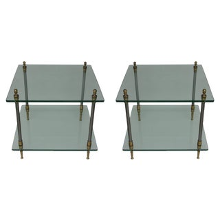 Vintage Two-Tiered Brass/Steel Side Tables - Pair