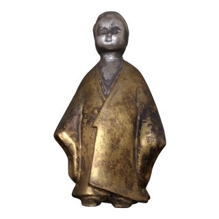 Antique Asian Man in Kimono Brass Figurine