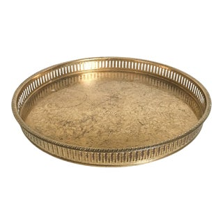 Large Round Pierced Brass Gallery Tray