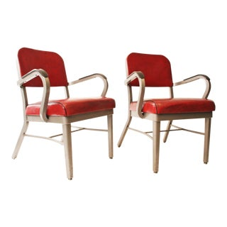Vintage Industrial Stylex Office Red Armchairs - A Pair