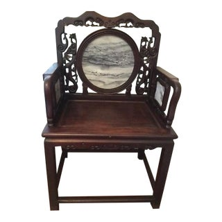 Antique Marble Inlay Cherry Wood Seat