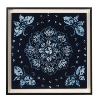 Antique Framed Yi Batik Blue Fabric