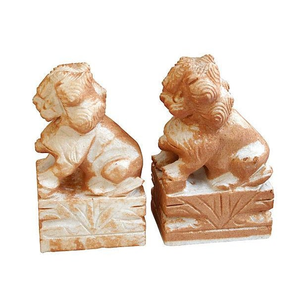 Carved Solid Marble Foo Dog Bookends - Pair - Image 2 of 7