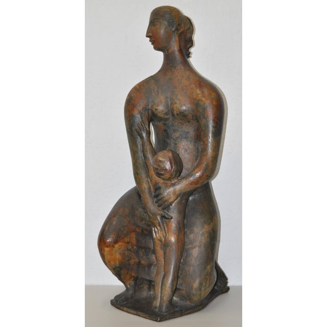 Image of Mother and Child Fired Ceramic Statue C.1940s