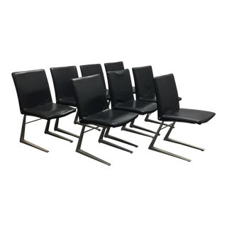 Bo Concept Black Leather Mariposa Dining Chairs - Set of 8