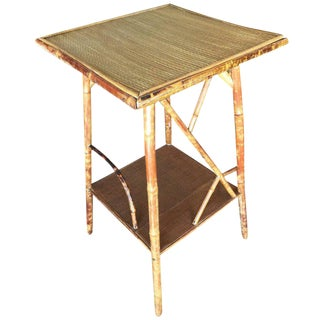 Tiger Bamboo Pedestal Side Table with Organic Formed Accents