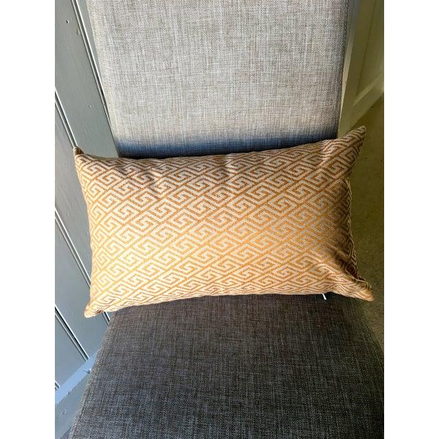 Image of Golden Greek Key Print Pillow