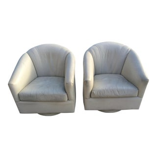 Mid-Century Modern Leather Swivel Club Chairs - A Pair