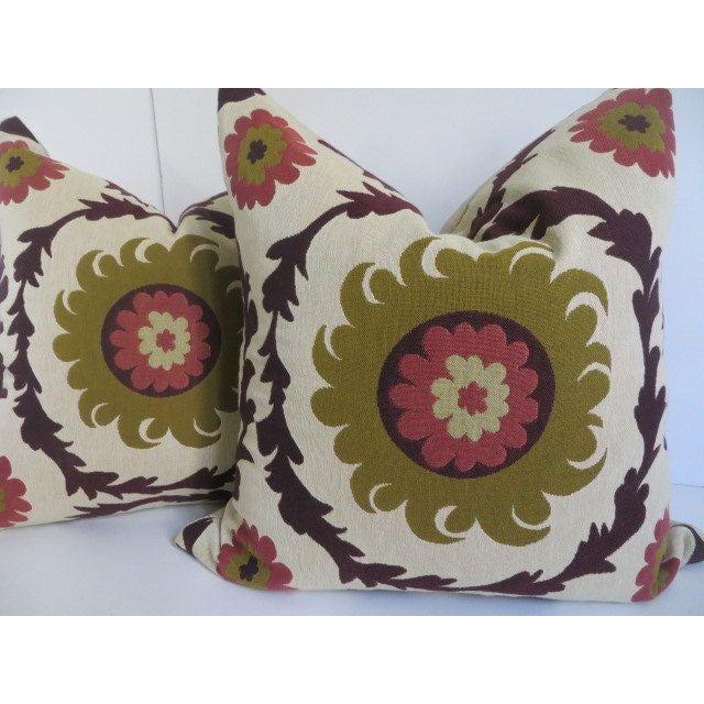 Quadrille Woven Designer Pillows - A Pair - Image 4 of 4