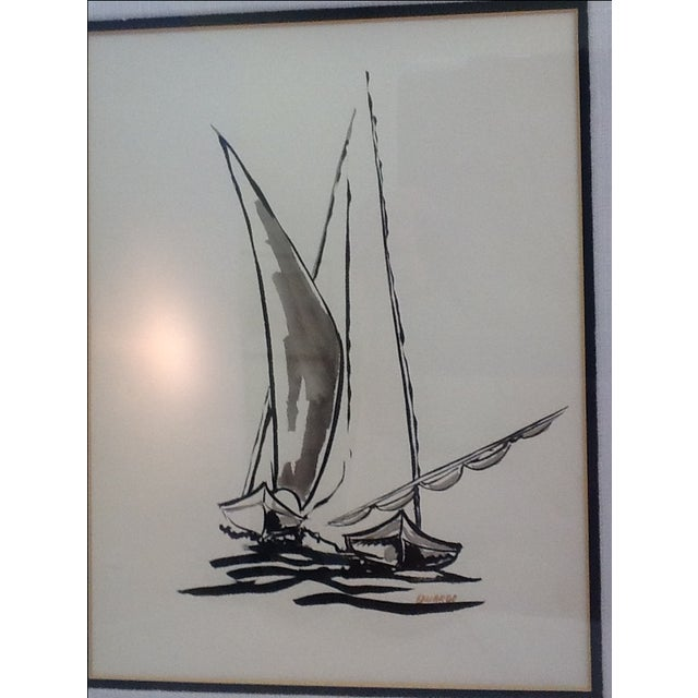 Black Ink Original Signed Sailboat Painting - Image 6 of 10