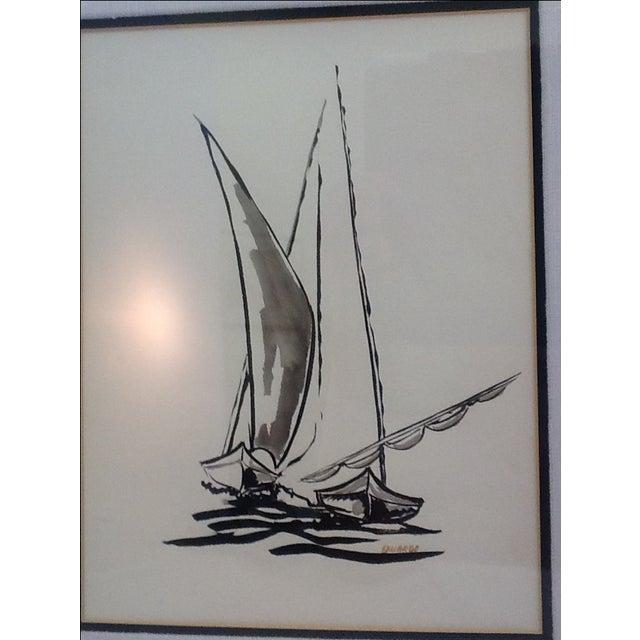 Mid Century Sailboat Painting. Black Ink Original Signed Sailboat Painting - Image 6 of 10