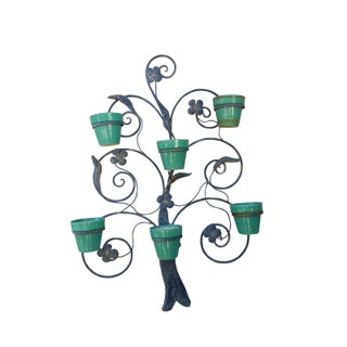 1920s Hanging Plant Stand & Pottery Flower Pots