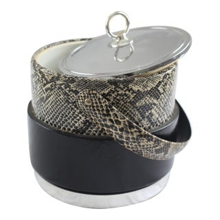 Faux Python Black & Chrome Ice Bucket