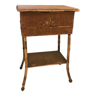 Antique Bamboo French Sewing Box Table