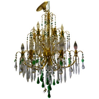 Brass Crystal Chandelier With Emerald Green Beads