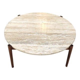 Walnut Marble Top Coffee Table
